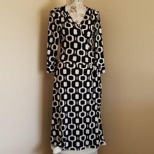 Bisou Bisou Black and White Geometric Wrap Dress